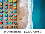 aerial view of lying woman on... | Shutterstock . vector #1120072958