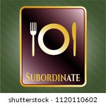 gold shiny emblem with... | Shutterstock .eps vector #1120110602