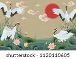 background with japanese cranes ... | Shutterstock .eps vector #1120110605
