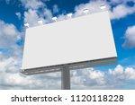 blank billboard at blue sky... | Shutterstock . vector #1120118228