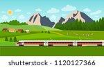 train on railway. summer... | Shutterstock .eps vector #1120127366