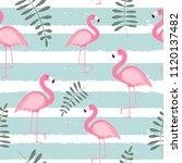 cute seamless flamingo pattern... | Shutterstock .eps vector #1120137482