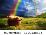 pot full of gold at the end of... | Shutterstock . vector #1120138835