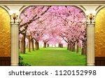 golden and pink 3d background ... | Shutterstock . vector #1120152998