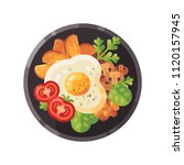 tasty breakfast flat... | Shutterstock .eps vector #1120157945