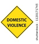 domestic violence yellow road... | Shutterstock .eps vector #1120171745