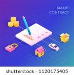 smart contract concept... | Shutterstock .eps vector #1120175405