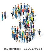 crowded isometric people vector ... | Shutterstock .eps vector #1120179185