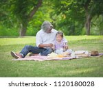 grandfather spend the time  in... | Shutterstock . vector #1120180028