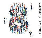 crowded isometric people vector ... | Shutterstock .eps vector #1120182062