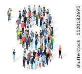 crowded isometric people vector ... | Shutterstock .eps vector #1120182695