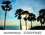 sunset to the sea with dark... | Shutterstock . vector #1120192682