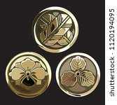 japanese icons vector. gold... | Shutterstock .eps vector #1120194095