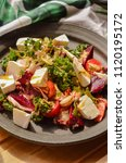 colorful summer salad with... | Shutterstock . vector #1120195172
