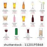 various alcoholic drinks... | Shutterstock . vector #1120195868