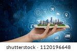 smart city model on smartphone... | Shutterstock . vector #1120196648