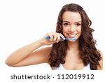 young woman at home brushing... | Shutterstock . vector #112019912