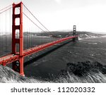 Stock photo the golden gate bridge on a monochromatic background 112020332