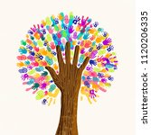 tree with colorful human hands... | Shutterstock .eps vector #1120206335