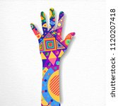 human hand with colorful shape... | Shutterstock .eps vector #1120207418