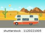 retro camper car trailers... | Shutterstock .eps vector #1120221005