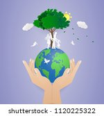 human two hand holding world... | Shutterstock .eps vector #1120225322