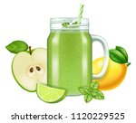 raw fresh green smoothie in a... | Shutterstock .eps vector #1120229525