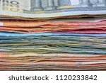 a lot of used euro bills of... | Shutterstock . vector #1120233842