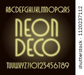 neon tube art deco alphabet... | Shutterstock .eps vector #1120237112