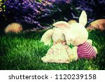 toys hugging on the grass | Shutterstock . vector #1120239158
