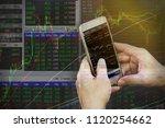 double exposure businessman use ... | Shutterstock . vector #1120254662