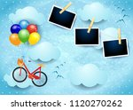 surreal sky with balloons  bike ...   Shutterstock .eps vector #1120270262