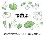 farm vegetables vector poster.... | Shutterstock .eps vector #1120275842