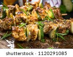 grilled meat and vegetable... | Shutterstock . vector #1120291085