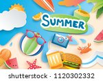 hello summer with paper cut... | Shutterstock .eps vector #1120302332