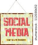 vintage social media sign | Shutterstock .eps vector #112030652