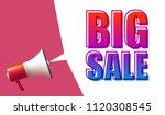 megaphone with big sale speech... | Shutterstock .eps vector #1120308545