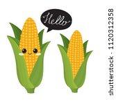 cute  corn characters. vector... | Shutterstock .eps vector #1120312358