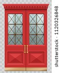 classic facade with red vintage ... | Shutterstock .eps vector #1120326848