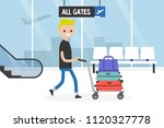 airport. young tourist rolling... | Shutterstock .eps vector #1120327778