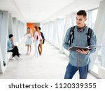 a young student in the... | Shutterstock . vector #1120339355