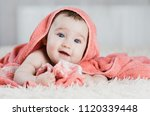 baby after shower in pink or... | Shutterstock . vector #1120339448