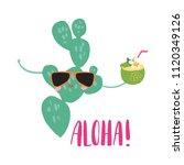 minimal beach summer trendy... | Shutterstock .eps vector #1120349126