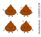 set of cute funny poop emoticon ... | Shutterstock .eps vector #1120351178