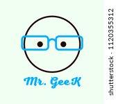 geek and nerd logo. mr. geek.... | Shutterstock .eps vector #1120355312