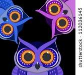 owls birds on a scrap card.... | Shutterstock . vector #112036145