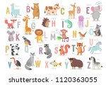 cute animals alphabet for kids  ... | Shutterstock .eps vector #1120363055