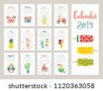 calendar 2019. cute monthly... | Shutterstock .eps vector #1120363058