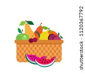wicker picnic basket with fruit ...   Shutterstock .eps vector #1120367792
