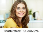 portrait of young smiling woman ... | Shutterstock . vector #112037096